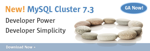 Banner: MySQL Cluster 7.3 GA, Download Now
